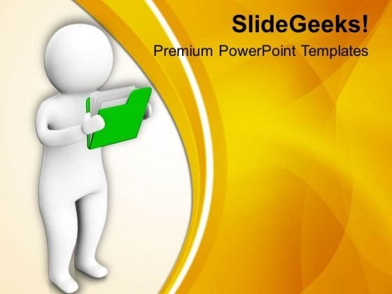 3d Man Checking Folder PowerPoint Templates Ppt Backgrounds For Slides 0813