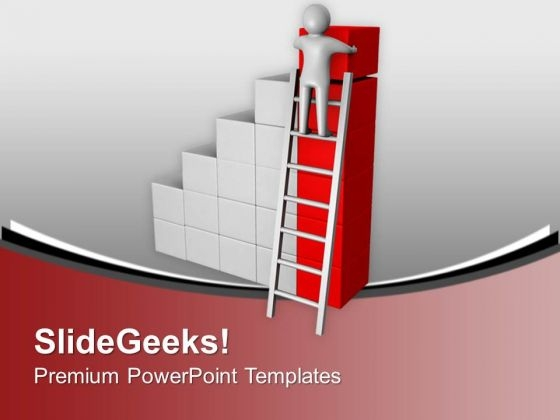 3d Man Climbing To Arrange Cubes PowerPoint Templates Ppt Backgrounds For Slides 0213