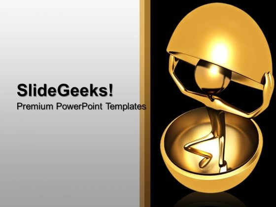 3d Man Coming Out From Shell Metaphor PowerPoint Templates And PowerPoint Themes 1012