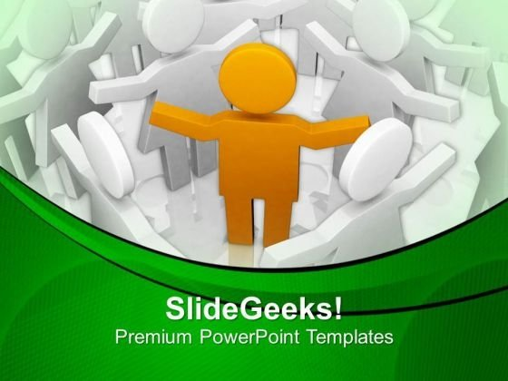 3d Man Crowd Of White 3d Fellows PowerPoint Templates Ppt Backgrounds For Slides 0713