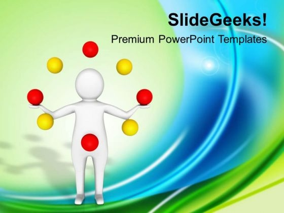 3d Man Doing Ziggling Game Theme PowerPoint Templates Ppt Backgrounds For Slides 0413