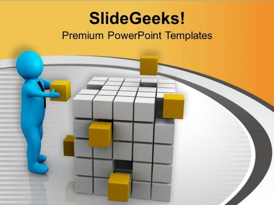 3d Man Fixing Yellow Cubes PowerPoint Templates Ppt Backgrounds For Slides 0713