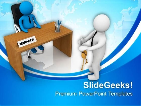 3d Man Giving Keys To Manager PowerPoint Templates Ppt Backgrounds For Slides 0813