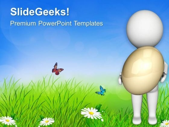 3d Man Holding An Egg PowerPoint Templates Ppt Backgrounds For Slides 0813