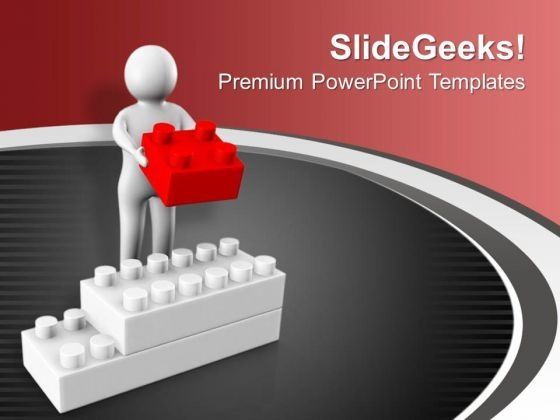 3d Man Holding Block Business PowerPoint Templates Ppt Backgrounds For Slides 0213