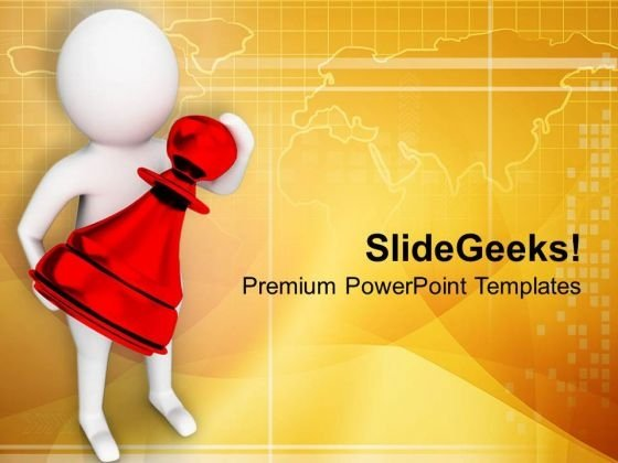 3d Man Holding Chess Piece PowerPoint Templates Ppt Backgrounds For Slides 0713