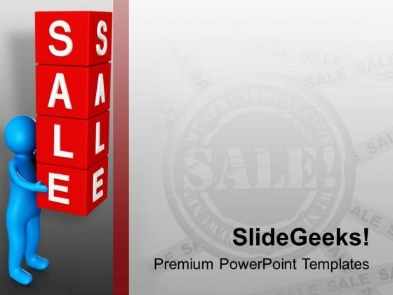 3d Man Holding Cubes Of Word Sale PowerPoint Templates Ppt Backgrounds For Slides 0713