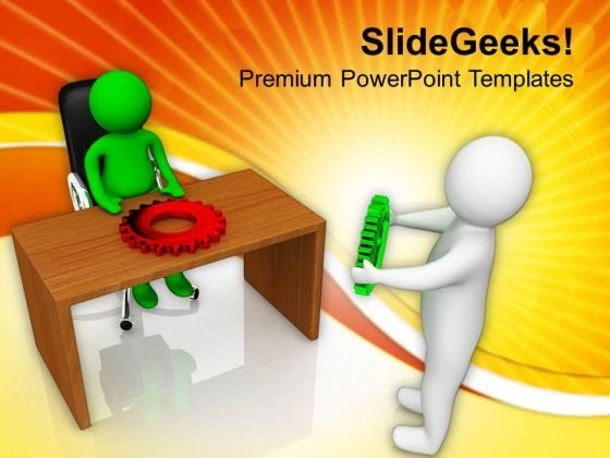 3d Man Holding Gear PowerPoint Templates Ppt Backgrounds For Slides 0713