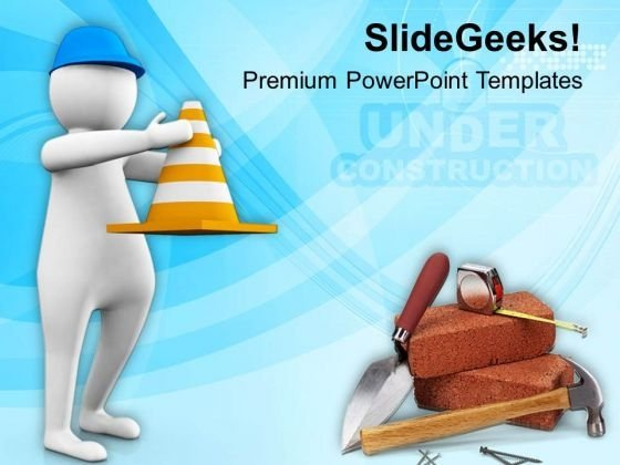 3d Man Holding Traffic Cone PowerPoint Templates Ppt Backgrounds For Slides 0813