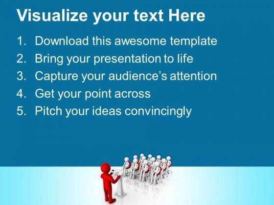 3d man making a formal announcement powerpoint templates ppt, Modern powerpoint