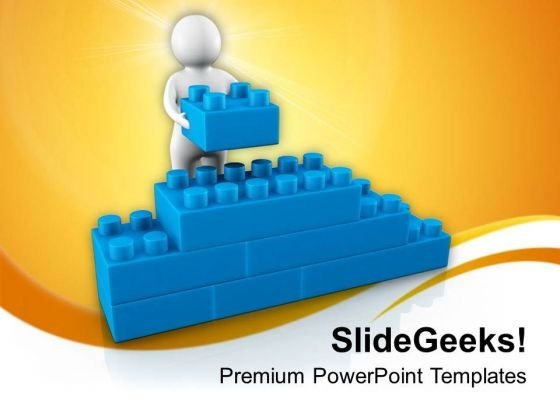 3d Man Making Cube Wall PowerPoint Templates Ppt Backgrounds For Slides 0713