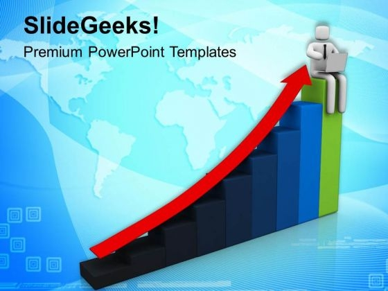 3d Man On Bar Graph PowerPoint Templates Ppt Backgrounds For Slides 0813