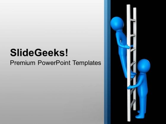 3d Man On Ladder Of Success PowerPoint Templates Ppt Backgrounds For Slides 0613