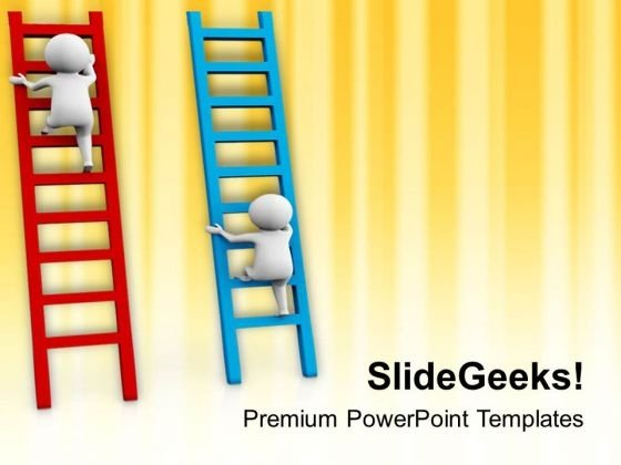 3d Man On Ladders Competing PowerPoint Templates Ppt Backgrounds For Slides 0813