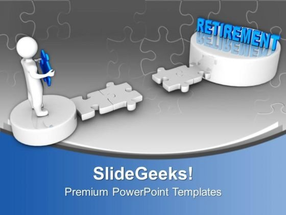 3d man on puzzle path to retirement powerpoint templates ppt, Modern powerpoint