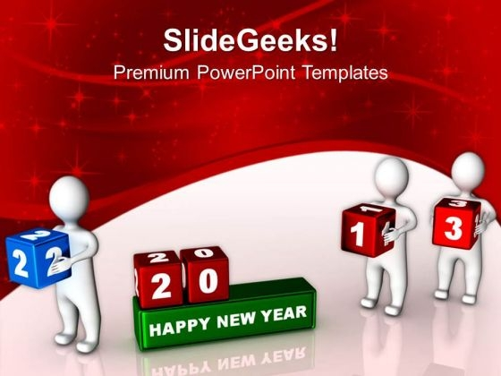 3d Man Placing Cubes New Year Concept PowerPoint Templates Ppt Backgrounds For Slides 1112