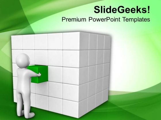3d Man Pushing A Cube PowerPoint Templates Ppt Backgrounds For Slides 0713