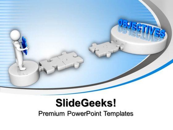 3d Man Puzzle With Objectives Business PowerPoint Templates And PowerPoint Themes 1012
