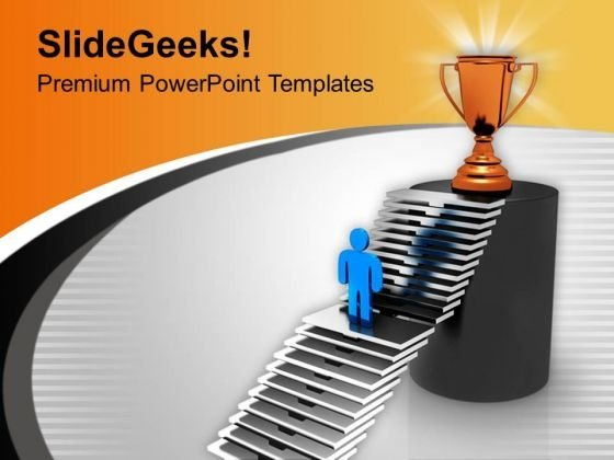 3d Man Reaching To The Trophy PowerPoint Templates Ppt Backgrounds For Slides 0213