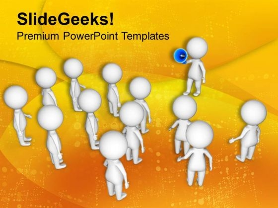 3d Man Speaking In Megaphone PowerPoint Templates Ppt Backgrounds For Slides 0813