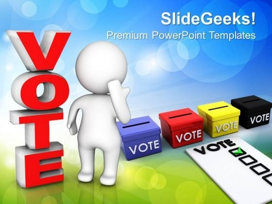 3d Man Standing Beside The Word Vote People PowerPoint Templates And PowerPoint Themes 1012