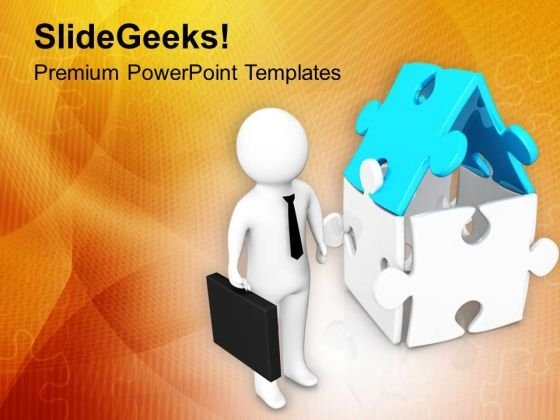 3d Man Standing Near To House PowerPoint Templates Ppt Backgrounds For Slides 0713