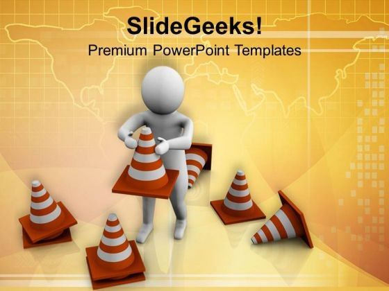 3d Man Standing With Traffic Cones PowerPoint Templates Ppt Backgrounds For Slides 0713