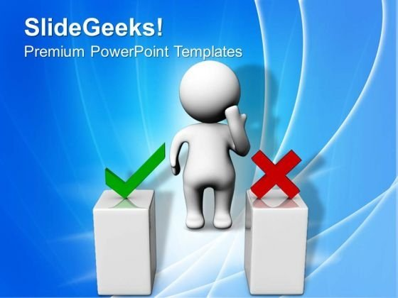 3d Man Thinking Behind Two Podiums PowerPoint Templates And PowerPoint Themes 1012