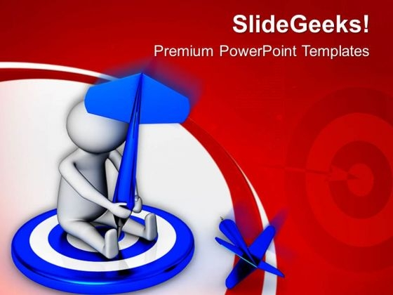 3d Man Throws Dart At Target PowerPoint Templates Ppt Backgrounds For Slides 0813