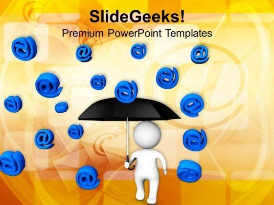 3d Man Under Umbrella Blue At Symbol PowerPoint Templates Ppt Backgrounds For Slides 0313