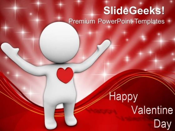 3d Man With A Red Heart Concept Of Love PowerPoint Templates Ppt Backgrounds For Slides 0213
