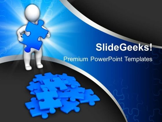 3d Man With Blue Puzzles PowerPoint Templates And PowerPoint Themes 1012