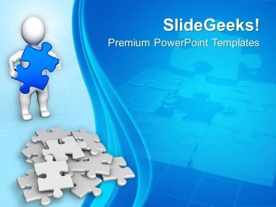 3d man with bunch of puzzle pieces business powerpoint templates ppt backgrounds for slides 1212 powerpoint themes