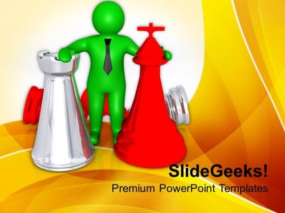 3d Man With Chess Pieces Strategy PowerPoint Templates Ppt Backgrounds For Slides 0713