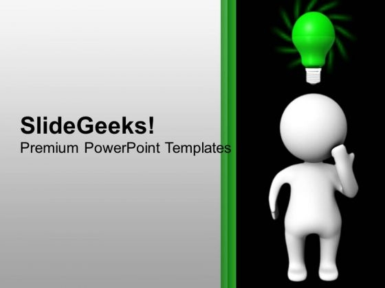 3d Man With Green Bulb Idea Education PowerPoint Templates Ppt Backgrounds For Slides 1112