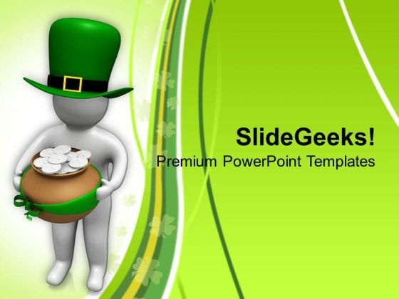 3d Man With Hat And Gold Coins PowerPoint Templates Ppt Backgrounds For Slides 0313