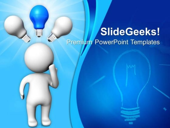 3d Man With Idea Bulb Business PowerPoint Templates And PowerPoint Themes 0812