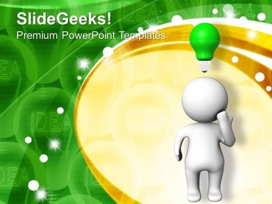 3d Man With Light Bulb PowerPoint Templates And PowerPoint Themes 1012