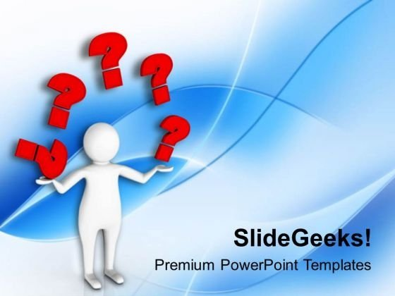 3d Man With Many Red Questions PowerPoint Templates Ppt Backgrounds For Slides 0813