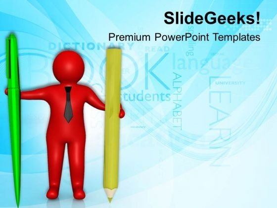 3d Man With Pen And Pencil PowerPoint Templates Ppt Backgrounds For Slides 0813