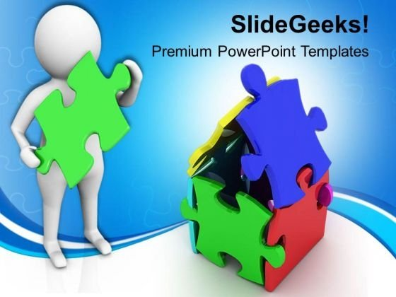 3d Man With Puzzle House PowerPoint Templates Ppt Backgrounds For Slides 0813