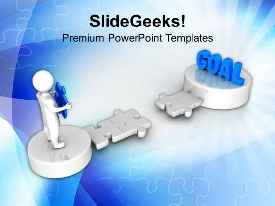 3d Man With Puzzle Targeting Goal PowerPoint Templates Ppt Backgrounds For Slides 1212