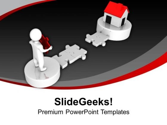 3d Man With Puzzle Way To Home PowerPoint Templates Ppt Backgrounds For Slides 0213