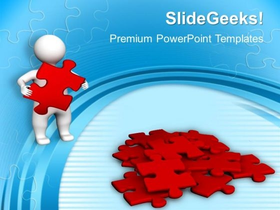 3d Man With Red Puzzles PowerPoint Templates And PowerPoint Themes 1012