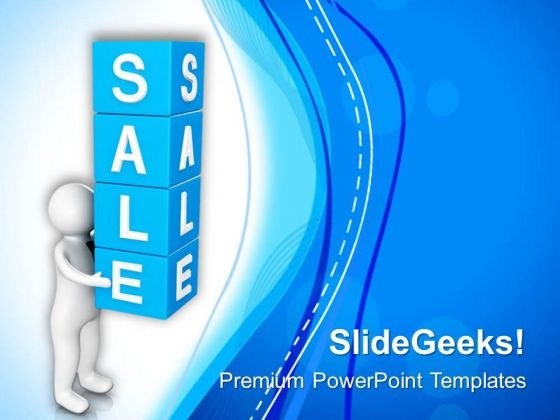 3d Man With Sale Cubes PowerPoint Templates Ppt Backgrounds For Slides 0713