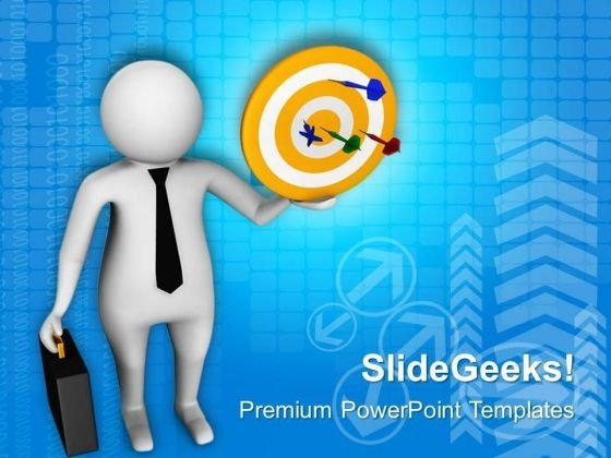 3d Man With Target Darts PowerPoint Templates Ppt Backgrounds For Slides 0813