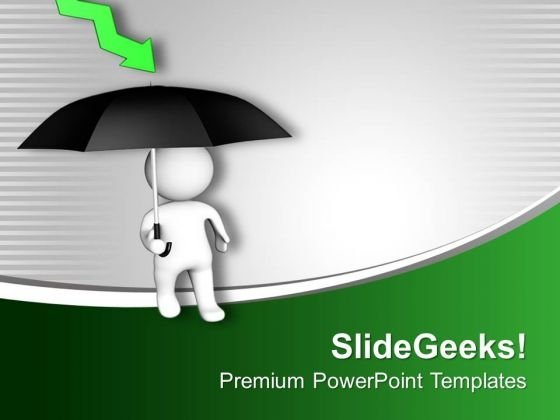 3d Man With Umbrella Financial Crisis PowerPoint Templates Ppt Backgrounds For Slides 0413