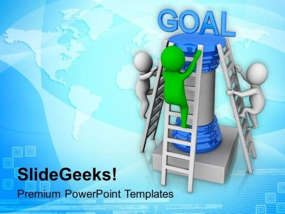 3d Men Climbing On Ladder For Goal PowerPoint Templates Ppt Backgrounds For Slides 0813