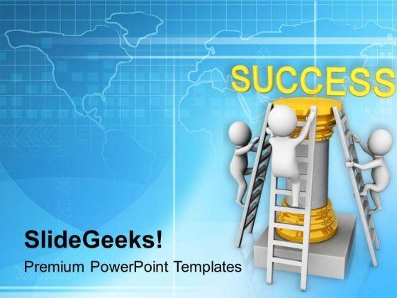 3d Men Climbing On Success Pillar PowerPoint Templates Ppt Backgrounds For Slides 0813