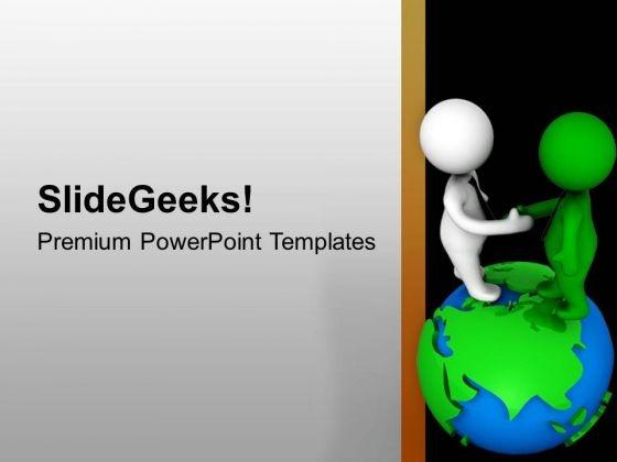 3d Men Handshake On Globe PowerPoint Templates Ppt Backgrounds For Slides 0713